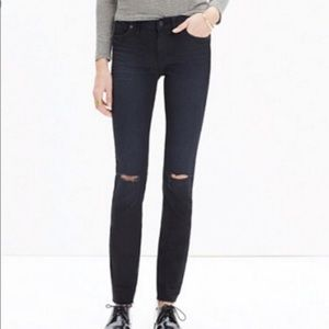 "NEW  Madewell 9"" Skinny Ripped Fray hem Jeans"
